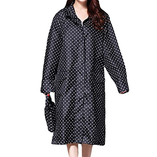 Libre Aire Poncho Chaqueta Transpirable Impermeable Capa Capucha Mujeres Punto al Impermeable Larga Lluvia Juleya de Impermeables con Negro Lluvia wfq7xZ6n