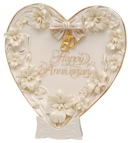 Appletree Design 50th Anniversary Orchid Heart Plate and Stand, 9 by 9-Inch ()
