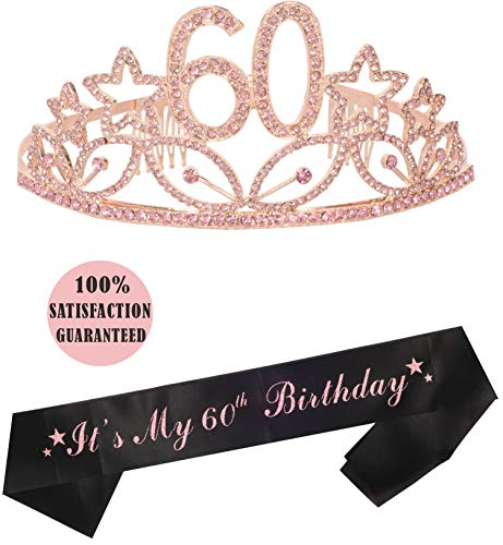 60th Birthday Tiara and Sash, Happy 60th Birthday Party Supplies, 60 and Fabulous Black Glitter Satin Sash and Crystal Tiara Birthday Crown for 60th Birthday Party Supplies and Decoration (Tiara)
