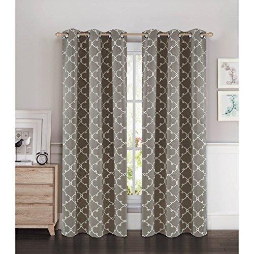 Bella Luna Selena Embroidered Thermal Room Darkening Grommet Curtain Panel Pair, Charcoal Grey