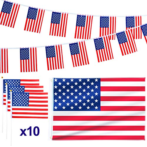 Whaline 12 Pack American Flag Set, 3x5ft USA National Flags, 10 Pieces Hand Held Small American Flags and American String Flag for Independence Day Theme Party Parades Decorations and Sports Events