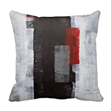 Lightinglife Throw Covers 'Power Trip' Black, Grey, Red Abstract Art Pillow