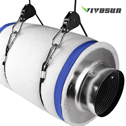 51OEam wBgL - VIVOSUN 6 Inch Air Carbon Filter Odor Control with Australia Virgin Charcoal for Inline Fan, Pre-filter Included, Reversible Flange