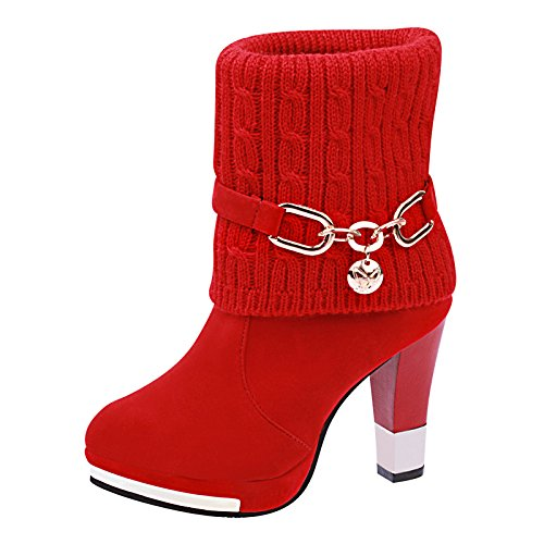 Thirty With 10Cm Big Big Heel Girl In Round High Thick And KHSKX Winter five Head Shoes And With Boots Red 7UIqqR