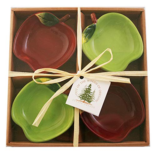 Set of 4 Red & Green Ceramic Apple Dipping Bowls