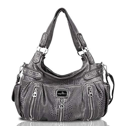 Handbag Hobo Women Handbag Roomy Multiple Pockets Street ladies' Shoulder Bag Fashion PU Tote Satchel Bag for Women (AK19244C ()