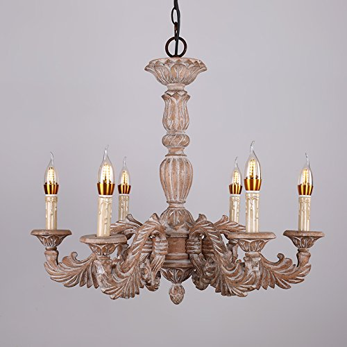 Lamp Acanthus (JiaYouJia French Vintage Hand Carved Wood Scrolling Acanthus Leaf 6-Light Candle Style Chandelier)