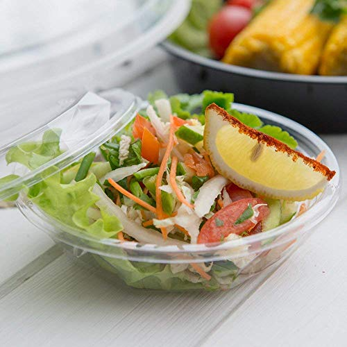 (12-OZ PLA Plastic To-Go Bowl - Clear Round Cold Food Container: Perfect for Catering Events & Restaurant Takeout - Compostable and Biodegradable - 500-CT - Basic Nature Collection - Restaurantware)