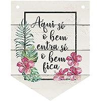 Placa Decorativa Litoarte Branco Pacote de 3