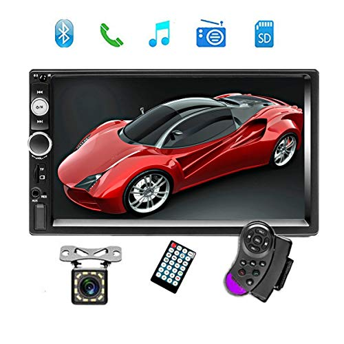 "Double Din Car Stereo Audio Radio with Bluetooth, 7"" Digital LCD Touchscreen Indash Head Unit AUX in/USB/TF/FM/MP3 Remote Control/Rear View Camera Input/Steering Wheel Control with Backup Camera"