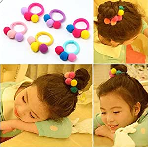 Yinche 6 Pcs Children Elastic Stretchy Band Hair Ring Girls Ponytail Holder Accessories(Random Color)