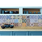 Tile Stickers 24 PC Set Authentic Traditional Talavera Tiles Stickers Bathroom & Kitchen Tile Decals Easy to Apply Just Peel and Stick Home Decor 10x10 cm (Mexican tile sticker HA5)