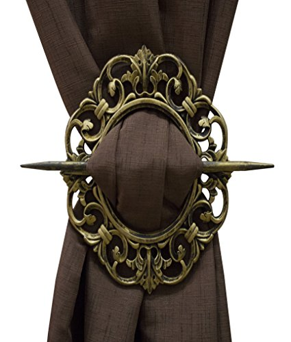 - Set of 2 Decorative Curtain Holdbacks Window Curtain Tiebacks, Oval Antique, Bronze, Gold, Silver, Mahogany (Gold)