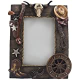 Decorative Wild West Desktop Photo Frame with Texas Longhorn Skull, Cowboy Boots and Hat, Six-shooter Pistol in Holster, Lasso, Horseshoes & Old Fashioned Wagon Wheel That Holds 4 X 6 Picture for Rustic Country Western Home Decor or Gifts for Cowboys