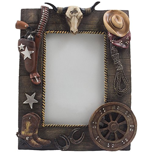 Decorative Wild West Desktop Photo Frame with Texas Longhorn Skull, Cowboy Boots and Hat, Six-shooter Pistol in Holster, Lasso, Horseshoes & Old Fashioned Wagon Wheel That Holds 4 X 6 Picture for Rustic Country Western Home Decor or Gifts for Cowboys (Cowboy Belt Frame)
