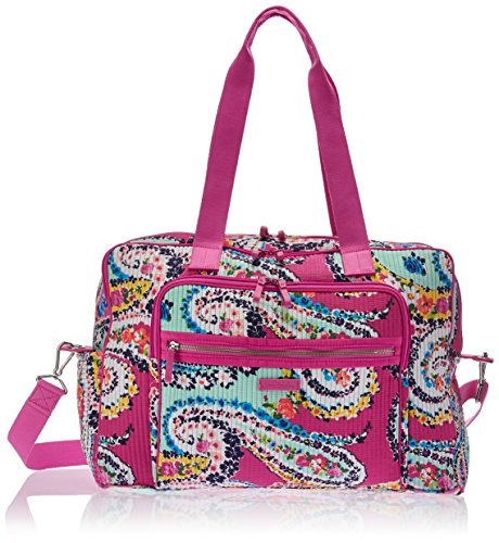 Vera Bradley Iconic Deluxe Weekender Travel Bag, Signature Cotton, Wildflower Paisley, One Size ()