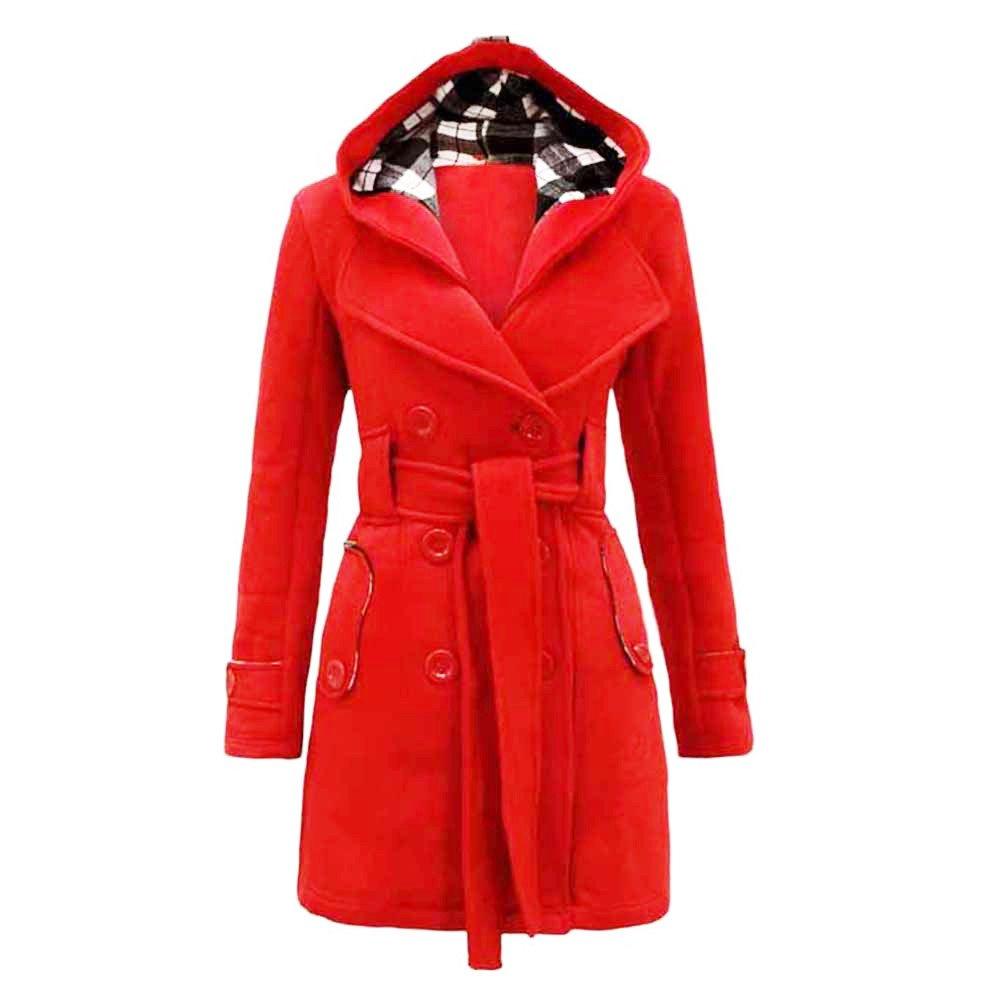 Kemilove Womens Warm Winter Hooded Long Section Coat Belt Double Breasted Jacket