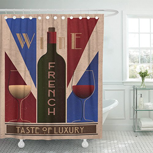 Emvency Shower Curtain Purple Here Ru Listing 508712887 French Wine Old Waterproof Polyester Fabric 60 x 72 inches Set with Hooks