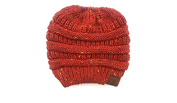 h Tag Messy Bun Ponytail Bean Hat Ladies Girl Stretch Knit Hat Witie Holey Warm Hats Caps-1pc-Small Family (a5, one Size) at Amazon Womens Clothing store: