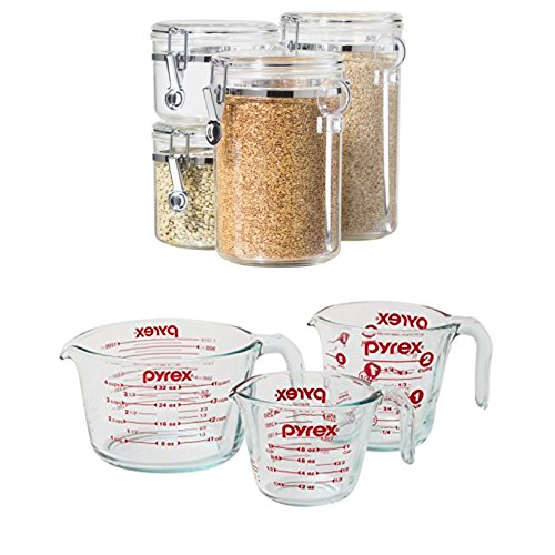 Bundle Includes 2 Items - Oggi 4-Piece Acrylic Canister Set with Airtight Lids and Acrylic Spoons-Set Includes 1 each 28oz, 38oz, 59oz, 72oz and Pyrex 3-Piece Glass Measuring Cup Set