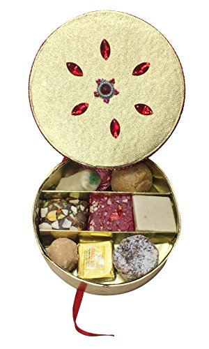 Sukhadia's Indian Sweets Gift Box, Festive Gold Round Badhai Pack, Premium Assorted Mithai, 12oz