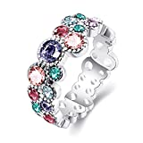 Ravishing Jewelry Platinum Plated Multicolor Czech Drill New Hot Popular Rings for Women Size 6 7 8 R2052