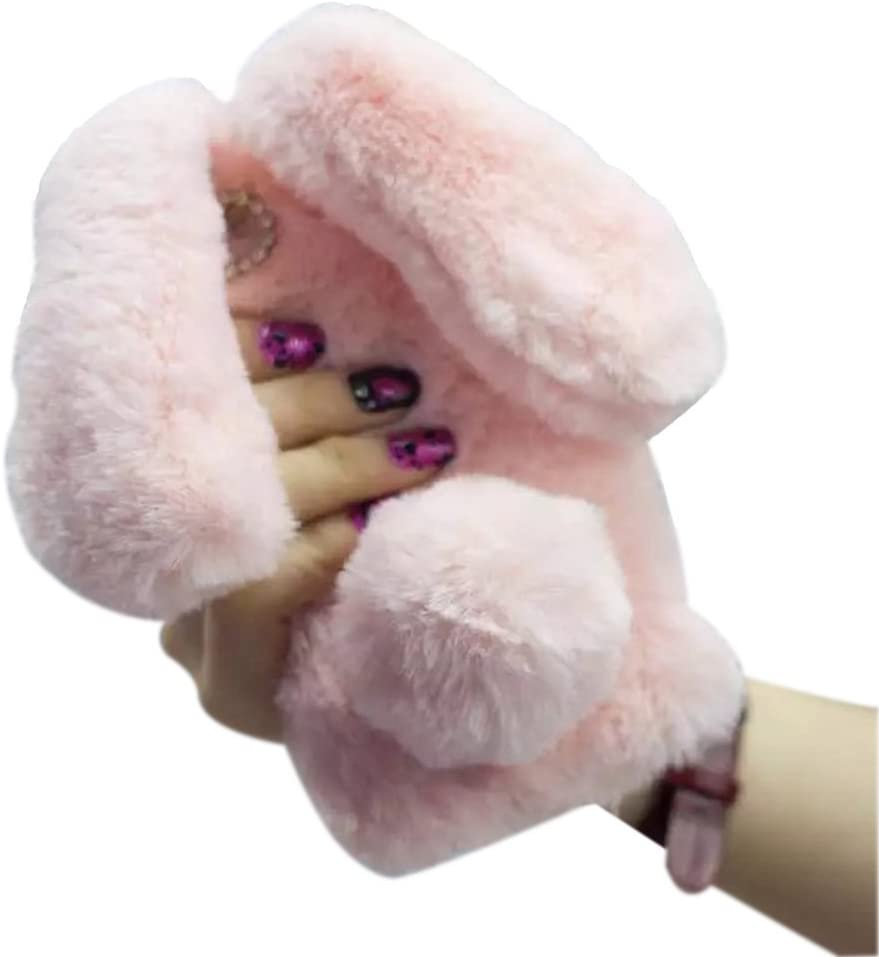 iPhone SE (2016) / 5S Rabbit Fur Case,Shinetop Bling Diamond Luxury Cute Soft Warm Fluffy Rex Rabbit Fur Case Winter Handmade Bunny Plush with Crystal Bowknot Protective Cover for iPhone SE 5S 5-Pink