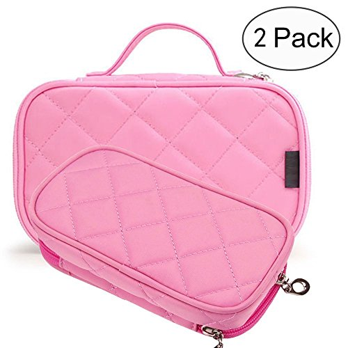 Makeup Bag Cosmetic Organizer Portable 2 layer Mini Makeup Pouch Holder Preminm Nylon makeup Case with Carry Handle for Travel Perfect Gift for Women Girls (Pink)