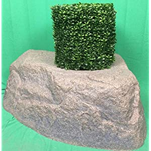 "Artificial UV Rated Outdoor 21"" Square Boxwood Topiary Tree Bundled with Rock Planter Cover, by Silk Tree Warehouse 76"