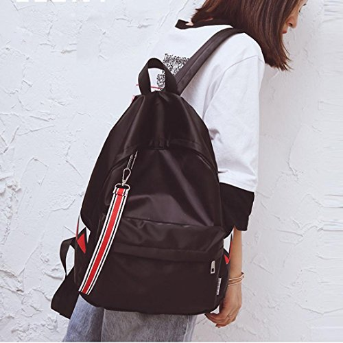 Pendant Stripe Black Shoulder Warterproof Bag Rucksack ChainSee Backpack Unisex Double SRFqxT