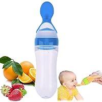 Cuchara de dispensación de alimentos para bebés de silicona, alimentador de presión con cuchara, biberón para bebé, biberón de cuchara para bebés alimentador de alimentos sólidos para bebés (Azul)