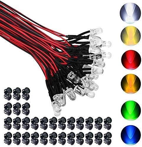 GTIWUNG 60Pcs Luces LED de Diodo 12V DC Pre Wired LED Diodos Emisores de Luz Lámpara, con Cables de 20cm + 60Pcs 5mm Plástico Soporte de LED Clip Montaje para DIY Coche Barco Juguetes Partes