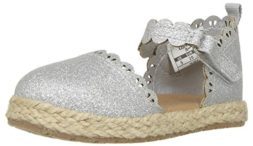 e Girl's Closed Toe Espadrille Sandal Mary Jane Flat Silver 12 M US Little Kid ()