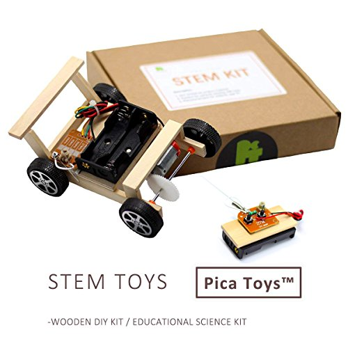 Pica Toys Stem Wireless Remote Control Car (Wooden Block & Accessories Package) Science Experiment, Electronic Tinker Gadgets,Best Creative Tech Gifts For Kits Boys and Girls Toddler Age 6 Up