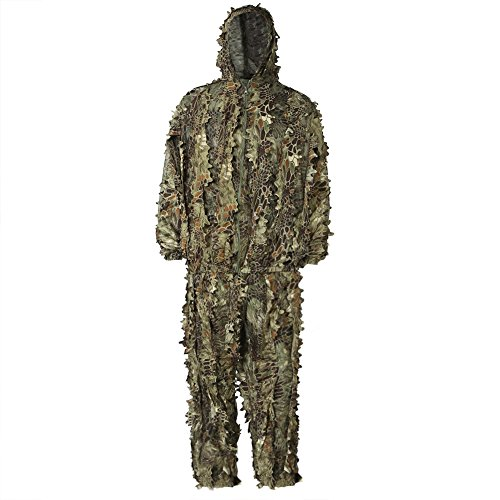 PELLOR 3D Camouflage Hooded Clothing Adults Ghillie Suit Camo Jacket Trousers Suit for Outdoor Hunting Bird Watching Woodland Stalking Paintball Airsoft (Camouflage, For height less than - Paint Camo Airsoft
