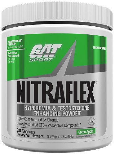 GAT - NITRAFLEX - Testosterone Boosting Powder, Increases Blood Flow, Boosts Strength and Energy, Improves Exercise Performance, Creatine-Free (Green Apple, 30 Servings) (Best Time To Take L Arginine For Bodybuilding)