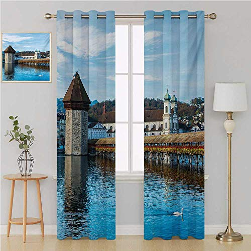 Benmo House Landscape grummet Curtain Curtains for Living Room,Panoramic View of Oak Chapel Bridge Northern Lands Lake European Aged City Print Drapes Panels 96 by 84 Inch Blue Brown]()