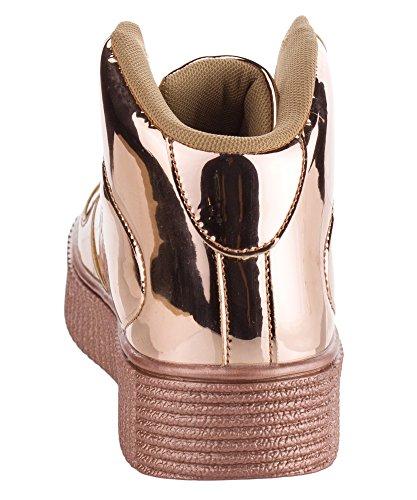 Cape Robbins Womens Mode Rankor Lackläder Glitter Skosnören Flatform Snörning Plattform Höga Bästa Gymnastikskor Ökade Guld