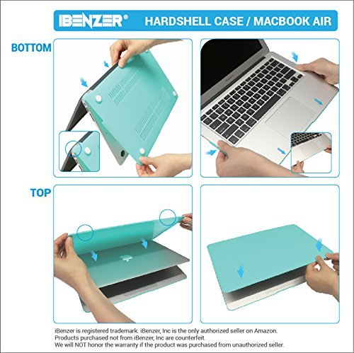 iBenzer Basic Soft-Touch Series Plastic Hard Case & Keyboard Cover for Apple Macbook Air 13-inch 13'' A1369/1466 (Rose Quartz) by iBenzer (Image #7)