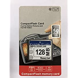 128MB CompactFlash Memory Card (CF) use for Camera 65 128MB Capacty use for Camera Speeds up to 50MB/s Great for entry to mid range DSLRs