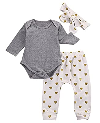 Baby Girls Cute Outfits Bodysuits with Sweetheart Leggings Headband Toddler Clothes