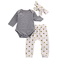 Baby Girls 3pcs Outfits Bodysuits with Sweetheart Leggings Headband Toddler C...