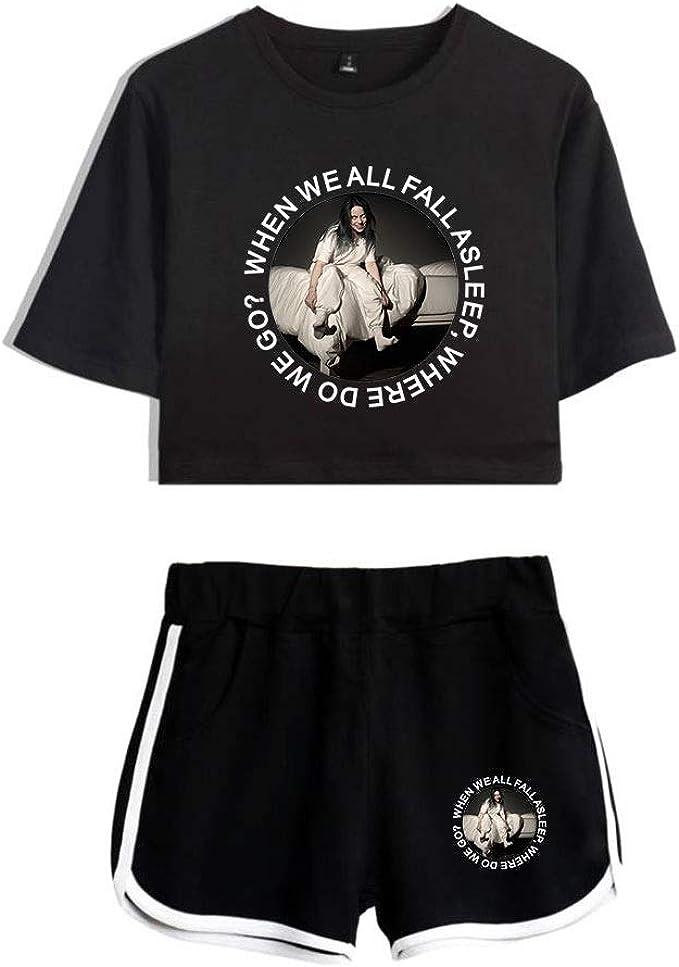 Aazzyun Billie Eilish Kurzarm T Shirt Top Und Shorts Set 2 Stuck Gymnastik Trainings Laufanzug Amazon De Bekleidung