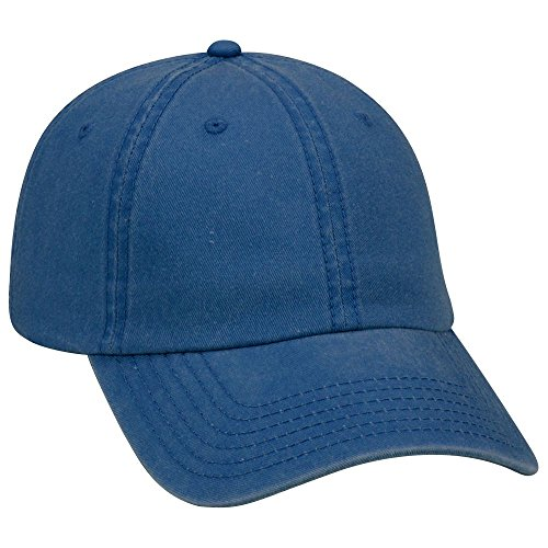 arment Washed Pigment Dyed Cotton Twill Six Panel Low Profile Dad Hat -Royal [Wholesale Price on Bulk] (Garment Washed Pigment Dyed Twill)