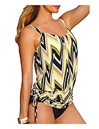 AuntTaylor Womens Halter Adjustable Striped Backless 2 Piece Padded Swimsuit