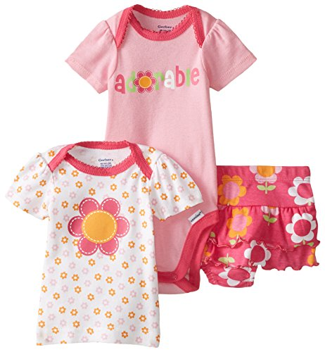 Gerber Baby Girls' 3 Piece Bodysuit Adorable Floral Shirt and Panty Set, Pink, 12 Months