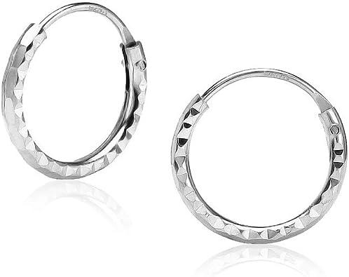 Womens Solid Geniune 925 Sterling Silver Diamond-cut 2mm Hoop Earrings