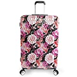 """BEBE Luggage Marie 29"""" Hardside Check In Spinner Suitcase, Black Floral Print"""