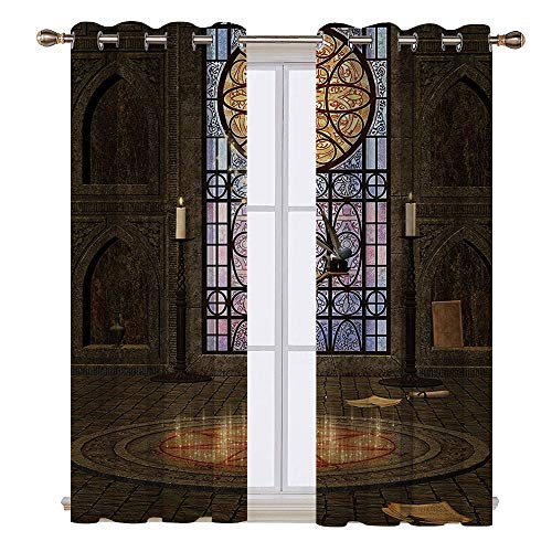 SATVSHOP Window Curtain babric - 84W x 108L Inch- Drapes for Living Room.Gothic House Lectern on Pentagram Symbol Medieval Architecture Candlelight in Dark Spell Altar Grey Lilac.