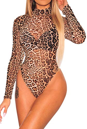 (Shawhuwa Leopard Print Sheer Mesh Long Sleeves Bodysuit for Women Leopard L)